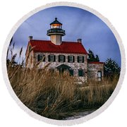 Twilight At East Point Round Beach Towel