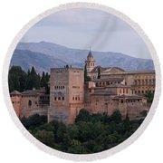 Twilight At The Alhambra Round Beach Towel