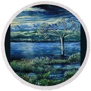 Twilight At The River Round Beach Towel