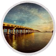 Twilight Biloxi Bridge Round Beach Towel