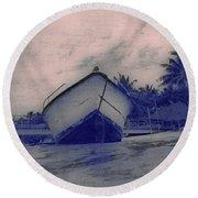 Twilight Boat  Round Beach Towel