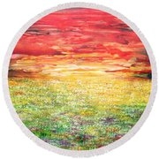 Twilight Bounds Softly Forth On The Wildflowers Round Beach Towel