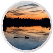 Twilight Lake Swim New Jersey Round Beach Towel