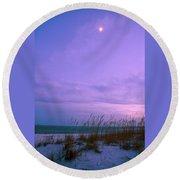 Twilight Moon Over Sand Dunes Round Beach Towel