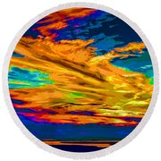 Twilight Of The Day Round Beach Towel
