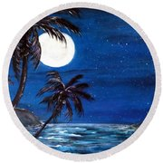 Twilight On The Bay Round Beach Towel
