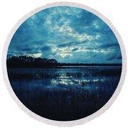 Twilight On The Lake Round Beach Towel