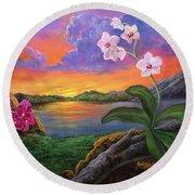 Twilight Orchids Round Beach Towel