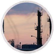 Twilight Over Petrochemical Plant Round Beach Towel