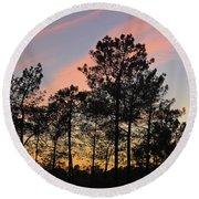 Twilight Tree Silhouettes Round Beach Towel