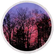 Twilight Trees Round Beach Towel