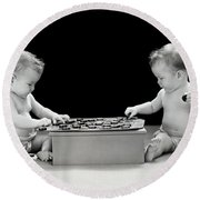 Twin Babies Playing Checkers, C.1930-40s Round Beach Towel