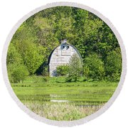 Twin Barns In Spring Round Beach Towel