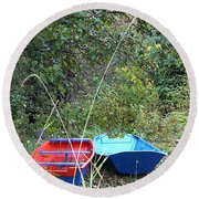 Twin Boats Bella Coola Bc Round Beach Towel