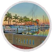 Twin Dolphin Marina Round Beach Towel
