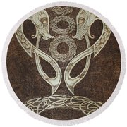 Twin Dragons Round Beach Towel