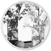 Twin Faces Round Beach Towel