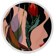 Twin Fire Flower Head 2 Round Beach Towel by Navo Art