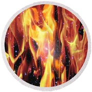 Twin Flames Round Beach Towel