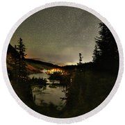 Twin Lakes Night Panorama Round Beach Towel