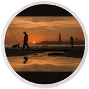Twin Lakes Sunset Reflected Round Beach Towel