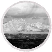 Twin Peaks Black And White Panorama Round Beach Towel