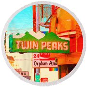 Twin Peaks Gay Bar In San Francisco . Painterly Style Round Beach Towel