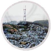Twin Peaks In San Francisco Aerial Photo Round Beach Towel