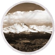 Twin Peaks In Sepia  Round Beach Towel
