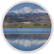 Twin Peaks Mccall Reservoir Reflection Round Beach Towel by James BO  Insogna