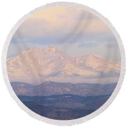 Twin Peaks Meeker And Longs Peak Panorama Color Image Round Beach Towel by James BO  Insogna