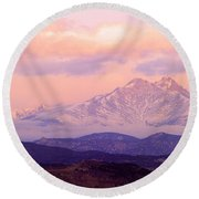 Twin Peaks Sunrise  Round Beach Towel