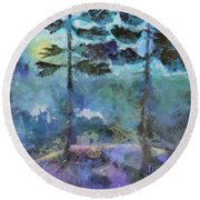 Twin Pines Round Beach Towel