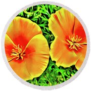 Twin Poppies Round Beach Towel