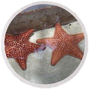 Twin Stars Round Beach Towel