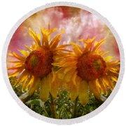 Twin Sunflowers Round Beach Towel