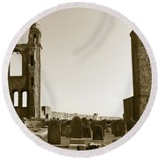 Twin Turrets And St. Rule's Tower Round Beach Towel
