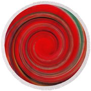 Twirl Red-0951 Round Beach Towel
