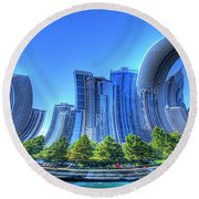 Twisted Chicago Skyline Round Beach Towel