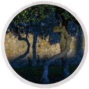 Twisted Early Morning Shadows Round Beach Towel