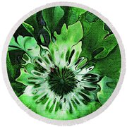 Twisted Leaves Round Beach Towel