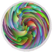 Twisted Rainbow 2 Round Beach Towel