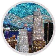 Los Angeles. Rhinestone Mosaic Beadwork Mix Round Beach Towel