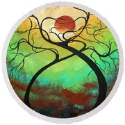 Twisting Love II Original Painting By Madart Round Beach Towel by Megan Duncanson