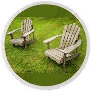 Two Adirondack Chairs Round Beach Towel