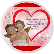 Two Angels And The Heart Round Beach Towel