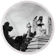Two Angels Joseph, Jesus And A Bold Cross In A Cemetery Round Beach Towel