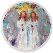 Two Angels Round Beach Towel