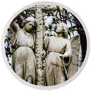 Two Angels With Cross Round Beach Towel