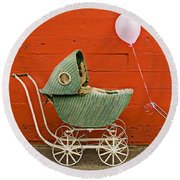 Two Baby Buggies  Round Beach Towel
